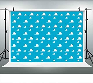 LUCKSTY Blue Toy Story Backdrops for Photography 9x6FT White Clouds Wall Paper Photo Backgrounds for Children Kids Birthda...