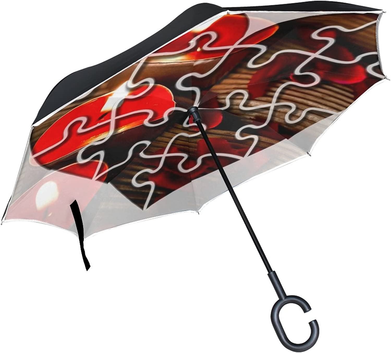 Double Layer Ingreened Heart Puzzle Candles Emotion Joining Together Umbrellas Reverse Folding Umbrella Windproof Uv Predection Big Straight Umbrella for Car Rain Outdoor with CShaped Handle