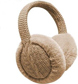 GLIN Unisex Winter Earmuffs Warm Adjustable Knitted Faux Fur Plush Ear Warmers