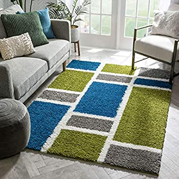 Mid-century modern abstract funky green, blue and grey carpet
