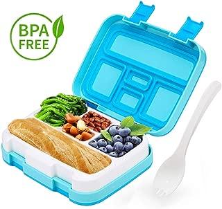 LAKIND Fambrera Infantil, Lunch Box, con 5 Compartimentos Fiambrera, Bento Box Sostenible, para Microondas y Lavavajillas. (Azul)