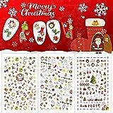 10 Sheets Christmas Nail Stickers, Xmas 3D Nail Self-Adhesive Stickers Santa Claus Reindeer Snowflakes Snowmen Nail Art Decals(1000+ Patterns)