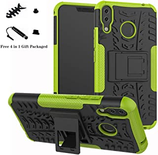ZenFone 5 ZE620KL case,LiuShan Shockproof Heavy Duty Combo Hybrid Rugged Dual Layer Grip Cover with Kickstand for ASUS ZenFone 5 (ZE620KL) 6.2-inches Smartphone (with 4in1 Packaged),Green