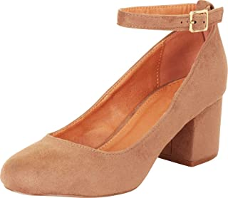 Cambridge Select Women's Ankle Strap Chunky Block Mid Heel Pump