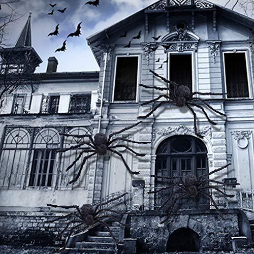ASZKJ Ragno Gigante da 125cm con Ragnatela di 10 mq, Halloween Decorazioni di Ragno Orribile Peloso Ragno Gigante Halloween Decorazioni per Dentro Fuori Cortile, Giardino