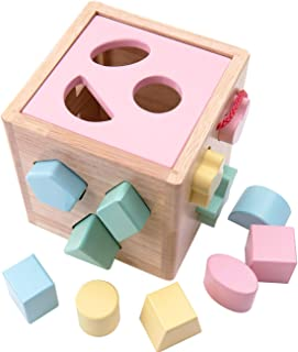 Babe Rock Shape Color Sorter Toddler Toy - Wooden Childrens Color Recognition Shape Sorting Cube Lid for Toddlers Learning Sort and Match Toys for 3 Years Old Boys Girls