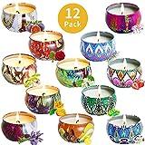 Duftkerzen 12 Stück Aroma Kerzen Vanilla Lavendel Sojawachs Aromatherapie Kerze Geschenkset für Geburtstag, Hochzeiten und Weihnachten