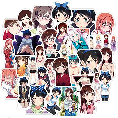 Anime Rent A Girlfriend Stickers Anime Girls para Laptop Skateboard DIY Juguetes Calcomanías Motocicleta Guitarra 50 Uds