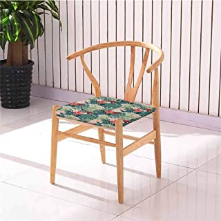 Leaf Chair Cushion Summer Beach Holiday Themed Hibiscus Plumeria Crepe Ginger Flowers Not Easy to Wrinkle Pink Red Green and Dark Green W27.5