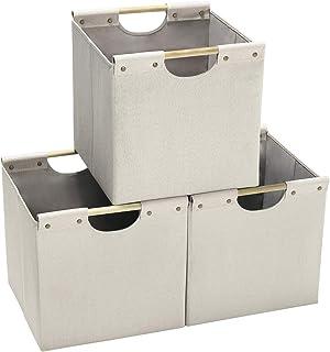 HOONEX Lot de 3 paniers de rangement pliables en lin - 33 x 33 x 33 cm - Avec poignées de transport en bois et carton robu...