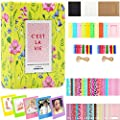 BigTrend 2x3 Inch Photo Paper Film Album Set for Fujifilm Instax Mini Camera, Polaroid Snap, Z2300, SocialMatic Instant Cameras & Zip Instant Printer (Pink Flower, 64 Pockets)