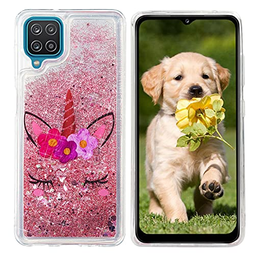HopMore Compatibile con Cover Samsung Galaxy A12 Brillantini Silicone Morbido Trasparente Disegni Bella 3D Custodia Morbide Brillante Glitter Antiurto Case Liquido Protettiva - Unicorno