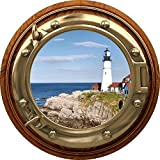 12' Port Scape Lighthouse #2 Brass & Wood Porthole Window Wall Sticker Decal Graphic Instant Sea Window View Bathroom Wall Art Decor Mural