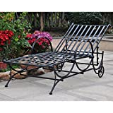 International Caravan Mandalay Iron Patio Chaise Lounge in Black