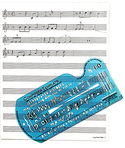 Song Writer's Composing Template Stencil for Music Notes & Symbols with Manuscript Staff Paper Tablet