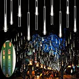 Zezuxy Falling Rain Lights White, Meteor Shower Lights with 11.8 inch 8 Tubes 144 LEDs Rain Drop Lights, Outdoor Icicle Snow Cascading Christmas String Lights for Trees Holiday Wedding New Year Gifts