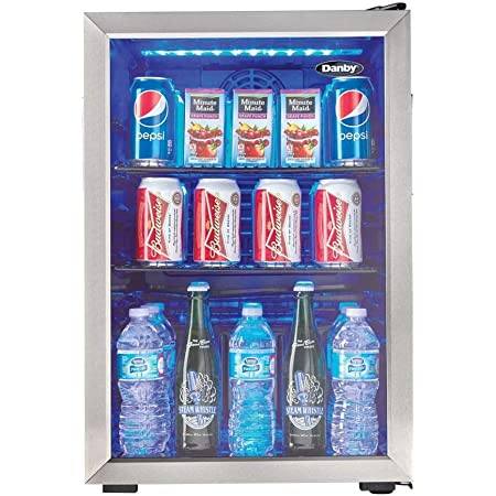 Danby DBC026A1BSSDB 95 Can Beverage Center, 2.6 Cu.Ft Refrigerator for Basement, Dining, Living Room, Drink Cooler Perfect for Beer, Pop, Water, Black/Stainless-Steel