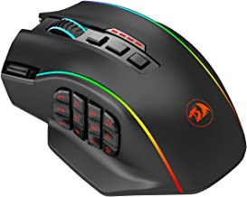 Redragon M901 Gaming Mouse RGB Backlit MMO 16 Macro Programmable Buttons, 16000 DPI for Windows PC Computer (Wireless, Black)