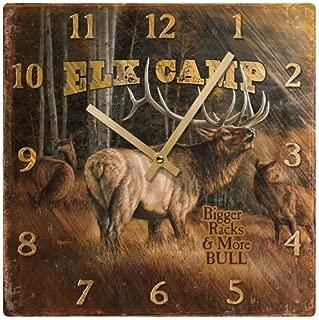 Elk Camp - Elk Square Clock by Rosemary Millette