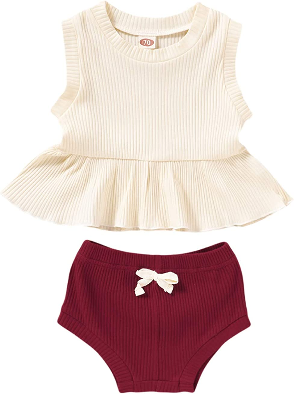 Max 64% OFF Newborn Baby Girl Clothes Sleeveless Cotton Ribbed Solid All items free shipping Knitted