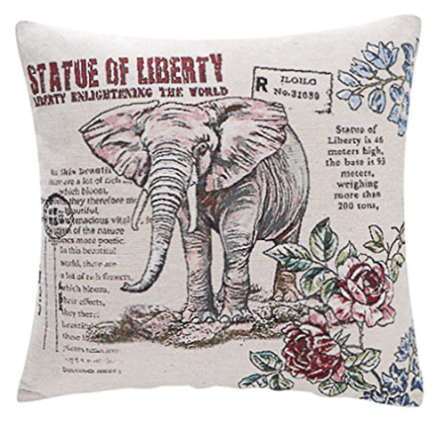 LivebyCare Elephant Yarn Dyed Jacquard Stuffed Throw Pillow Seat Chair Cushion PP Cotton Insert Bed Waist Lumbar Pillows Filling Filled Zipper Backrest Decor Decorative Home Sofa Bedroom