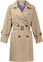 chouyatou Women's Classic Notch Lapel Double Breasted Belted Long Trench Coat