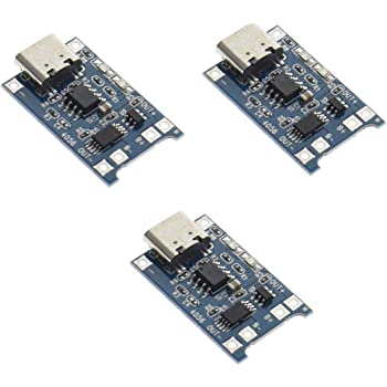 HiLetgo 3pcs TP4056 Type-c USB 5V 1A 18650 Lithium Battery Charger Module Charging Board with Dual Protection Functions