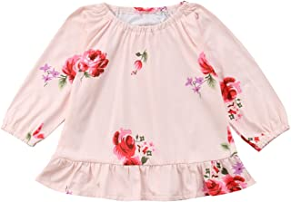 Mornyray Infant Baby Girl Cute Ruffle Collar Elastic Cuff Blouses Solid Cotton Shirt Top