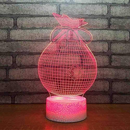 RJGOPL 3D 7 kleur veranderende nachtlicht LED-lamp tafellamp USB slaapkamer decoratie nachtkastje zilver portemonnee modelleertas baby slapen verlichting geschenken
