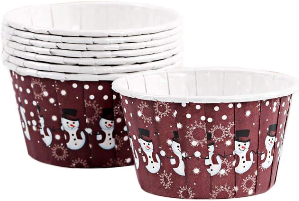 100 Pcs Snowman Christmas Paper Muffin Baking Edge Challenge the lowest price of Japan Max 85% OFF ☆ R Cupcake Cup