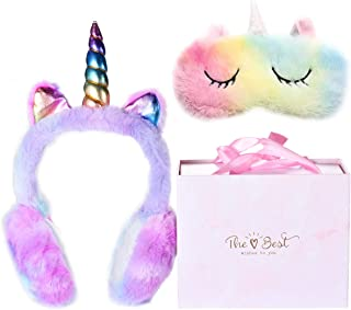 Winter Unicorn Earmuffs & Sleep Mask Set, Cute Cartoon...