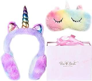 monochef Winter Unicorn Earmuffs & Sleep Mask Set, Cute Cartoon Ear Plush Warm Foldable Earmuff Rainbow Sleeping Mask Colorful Shining Soft Warmers for Girls Gift