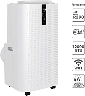 Famgizmo | 3 en 1 WiFi LED Aire Acondicionado Móvil Aire Acondicionado Frío Deshumidificador Aire Ventilador | 12000 BTU | 3 Niveles de ventilación | Temporizador | Modo de suspensión| EEK: A | R290