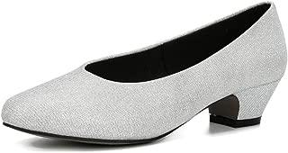 fereshte Women's Low Chunky Heel Pump Shoes