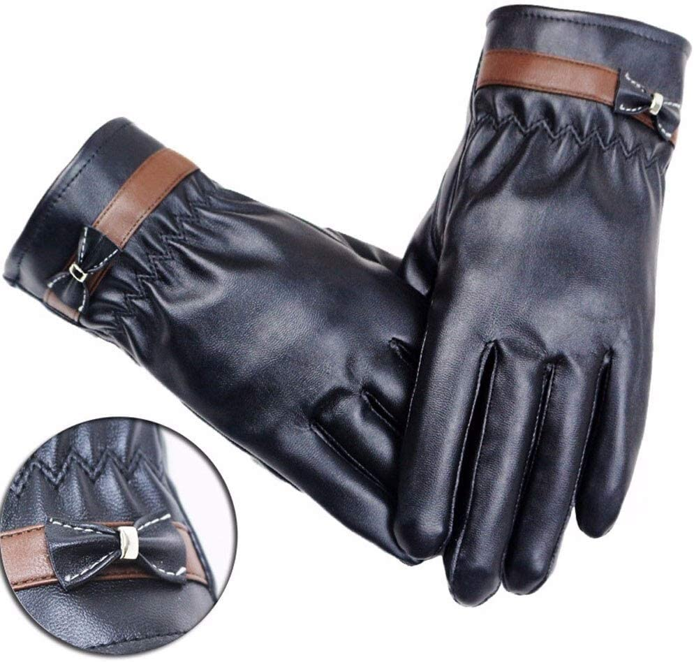 FASGION Women Lady Winter Gloves Warm Leather Gloves Driving Cycling Riding Soft Lining Gloves Thick Wrist Mitten Windproof guantes 2019 (Color : A, Gloves Size : One Size)