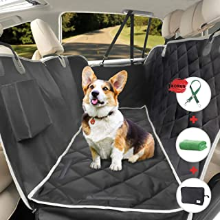 RAYMACE Dog Car Seat Covers with Detachable Cushion, Heavy Duty Waterproof, Nonslip Pet Backseat Hammock for Cars Trucks SUV
