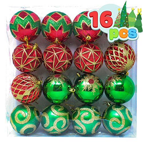"Joiedomi 16 Pcs 3.15"" Red, Green and Gold Christmas Ornaments, Shatterproof Christmas Ornaments for Holidays, Party Decoration, Tree Ornaments, and Events"