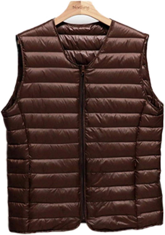 IGJMOD Couples V-Neck Ultra Light Down Vest Zipper Waistcoat Warm Liner Vest Brown L