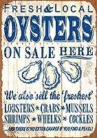 簡素な雑貨屋 Oyster On Here アメリカン ビンテージ風 レトロ アンティーク ブリキ看板 セット メタルプレート 屋内 用