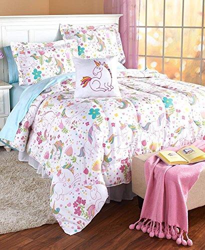 Fairy Tale Rainbow Unicorns Girls Twin Comforter, Sham & Toss Pillow (3 Piece Bedding Set) + Homemade Wax Melts