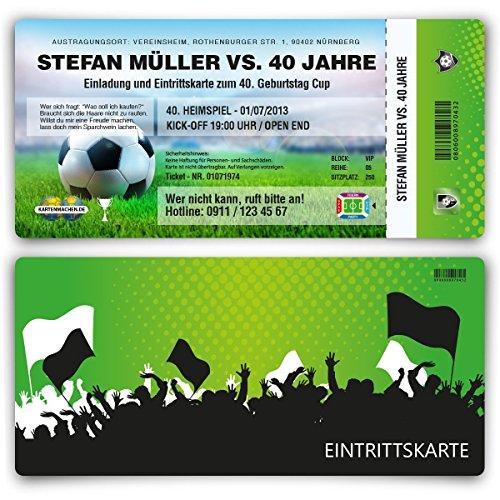 Einladungskarten zum Geburtstag (60 Stück) als Fussballticket Karte Ticket Fussball Einladung