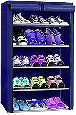 PrettyKrafts Shoe Rack with Cover, Shoe Organizer, 5 Shelf, Blue