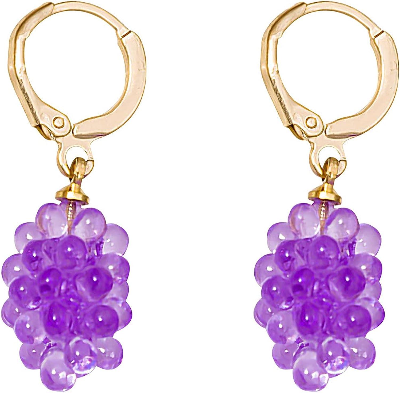YUNXI 3D Grape Ear Clip Charm Creative Lifelike 3D Grape Drop Earrings Cute Acrylic Gold Fruit Dangle Earrings Earrings for Women Girls Statement Jewelry Gift