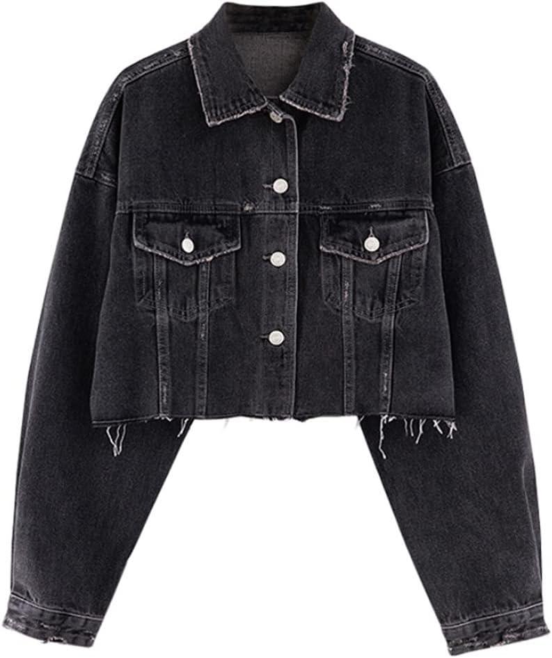 HLMSKD Fall Loose Short Denim Jacket Retro Ladies Lapel Pocket Single Breasted Denim Jacket (Color : Black, Size : Lcode)