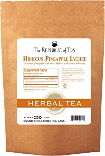 The Republic of Tea, Pineapple Lychee Hibiscus Tea, 250 Tea Bags, Caffeine-Free Premium Herbal Blend