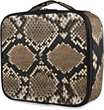 Snake Skin Texture Travel Cosmetic Makeup Bag Organizer Cosmetic Train Case Toiletry Bags Pouch for Women - Professional Beauty Storage