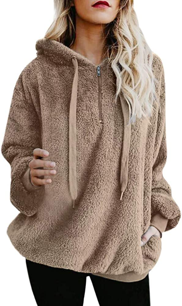 FABIURT Hoodies for Women, Womens Fuzzy Hoodies Pullover Cozy Oversized Pockets Hooded Sweatshirt Athletic Fleece Hoodie