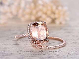 2pcs Morganite Engagement Ring Set,10x12mm Cushion Cut Peach Pink Morganite Claw Prong Halo Rings Solid 14k Rose Gold Half Eternity Diamond Anniversary Wedding Matching Band Sets Art Deco