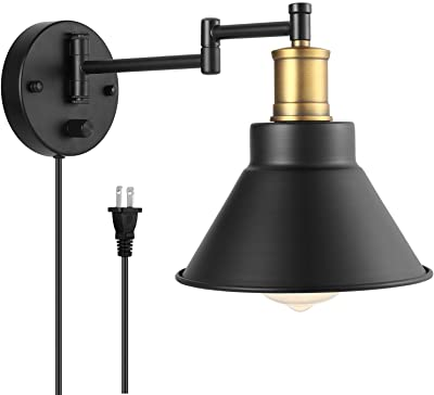 Swing Arm Wall Lamp Plug-in Cord Industrial Wall Sconce, Bronze and Black Finish,with On/Off Switch, E26 Base UL Listed,1-Light Bedroom Wall Lights Fixtures,Bedside Reading Lamp
