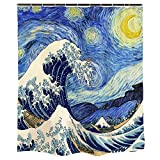 Ofat Home Japanese Shower Curtain Sets with Hooks for Bathroom, Van Gogh Starry Night and The Great Wave, 72 x 72 Inches